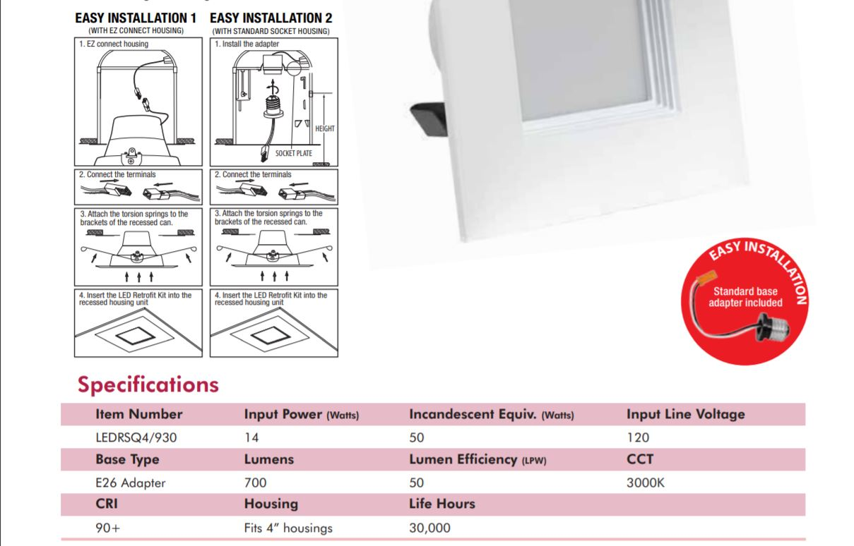 Installation Guide for Square Downlight