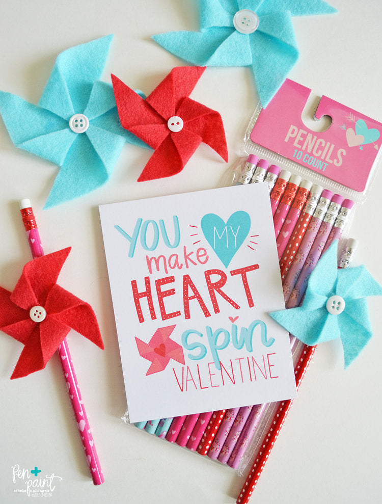 Free Kid's Valentine Card Printable - You Make My Heart Spin