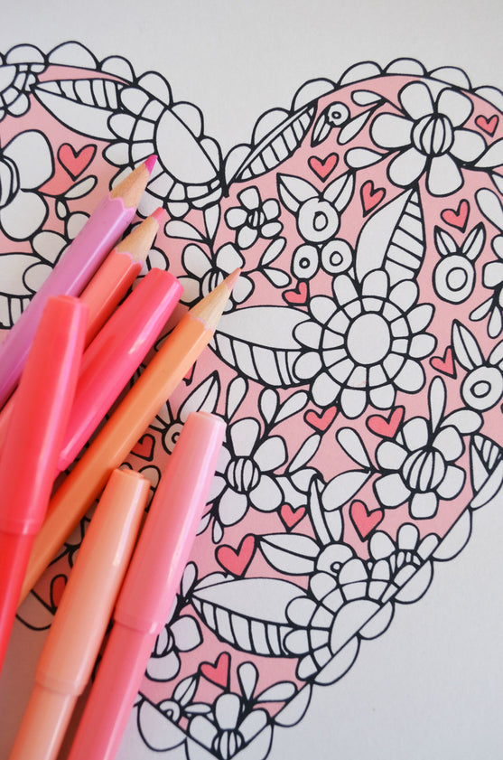 Free Valentine Coloring Page - Let Love Grow