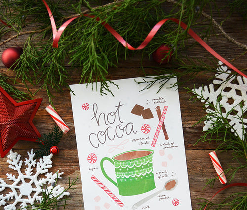 Hot cocoa recipe illustration Art Print