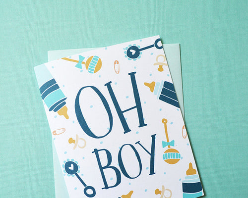 Oh Boy! Baby Shower card