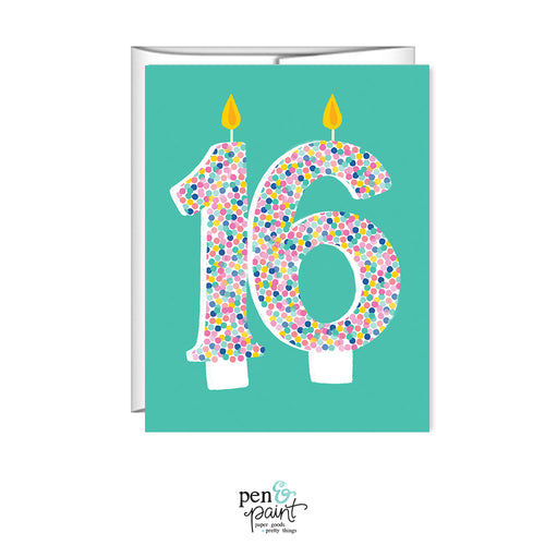 16th Birthday, 16 candles, Sweet 16 birthday card