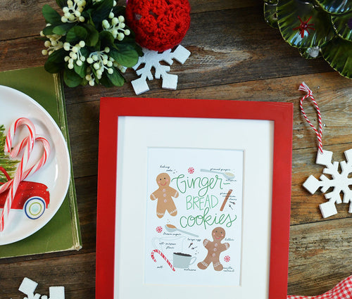 Gingerbread cookie recipe illustration Art Print