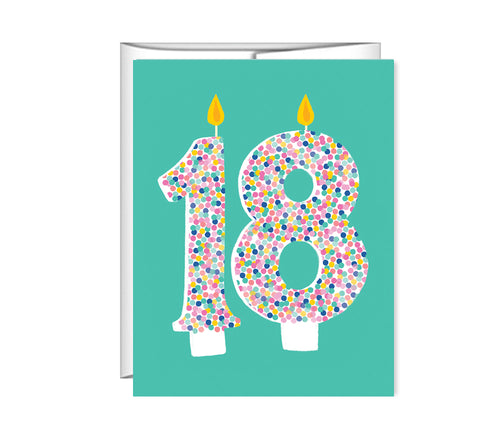 18th Birthday, 18 candles, birthday card
