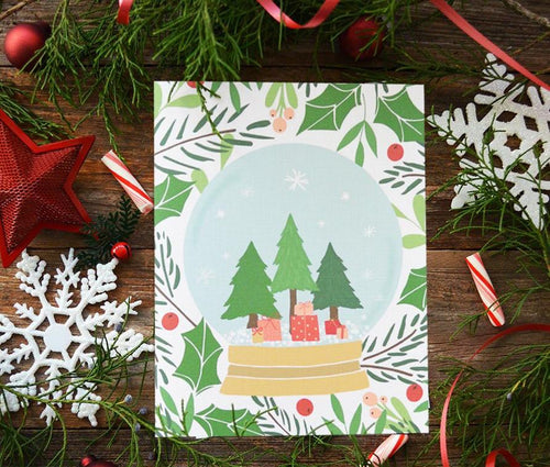Christmas Tree Snow Globe Art Print