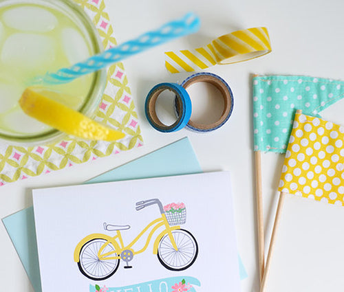 Hello Bicycle Floral notecard set of four