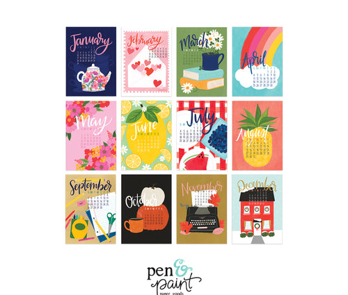 2021 REFILL Pen & Paint Illustrated Calendar - SINGLE sided