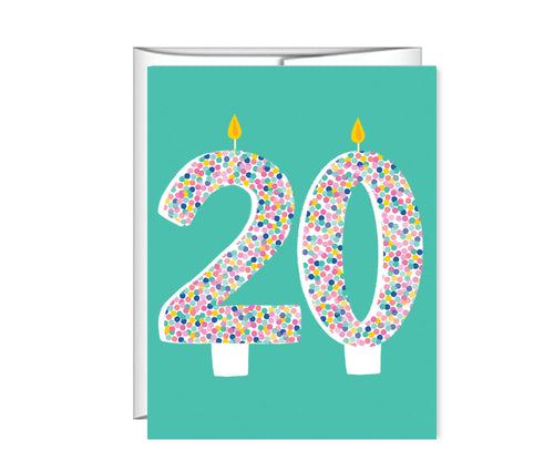 20th Birthday, 20 candles, birthday card