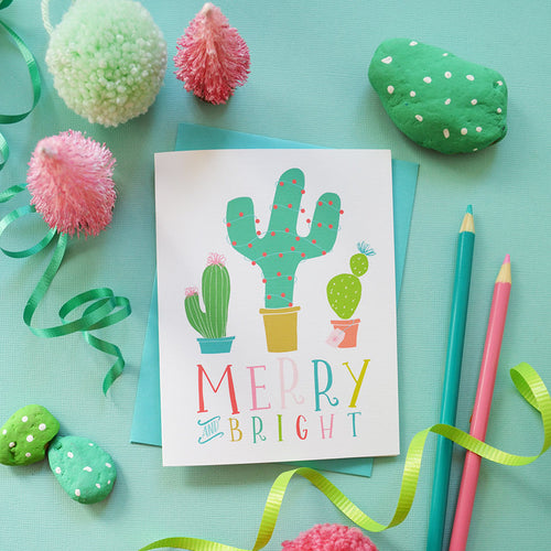 Merry and Bright holiday cactus card