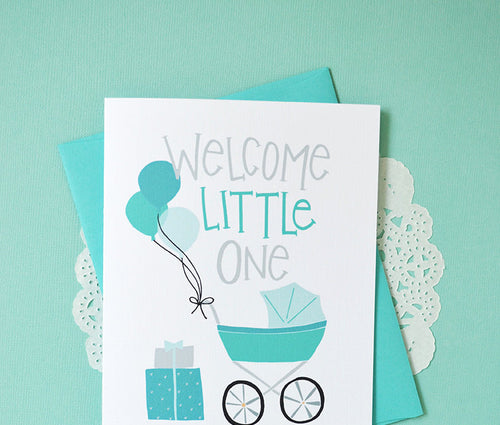 Little One blue balloons card