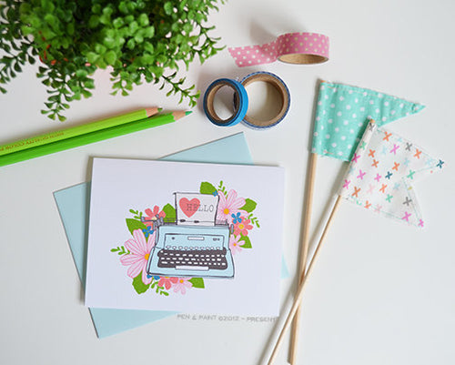 Hello Typewriter Floral set of four note cards