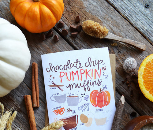 Pumpkin Muffin Recipe Greeting card