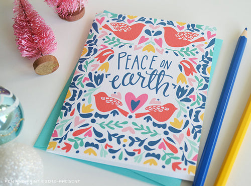 Peace on earth holiday card - colorful red birds