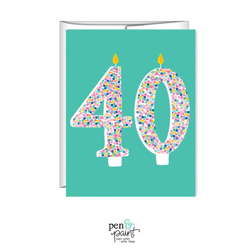 40th Birthday, 40 candles, birthday card