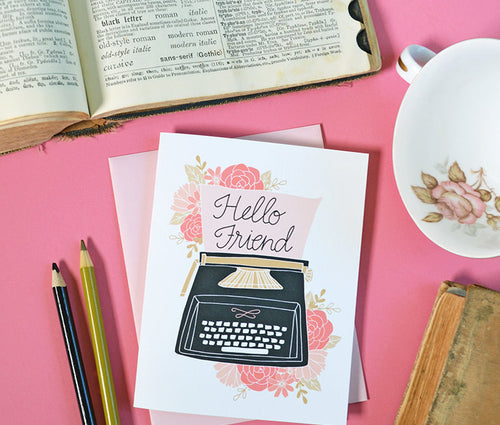 Hello Friend, Vintage Typewriter Greeting Card
