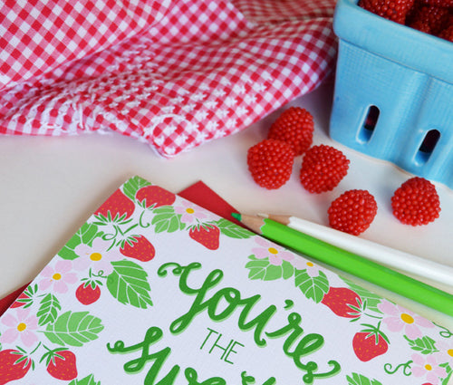 You're the sweetest strawberries card