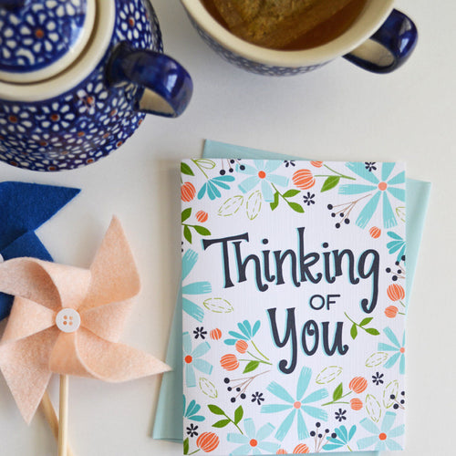 Thinking of you blue floral card