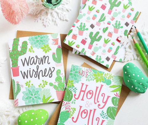 Warm Wishes Set of Four holiday cactus cards