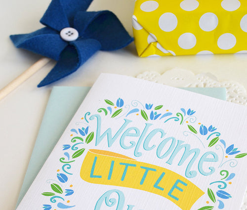 Welcome Little One blue floral card