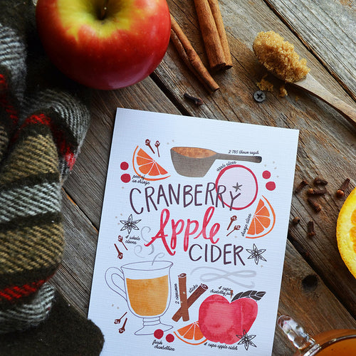 Cranberry Apple Cider recipe Fall art print