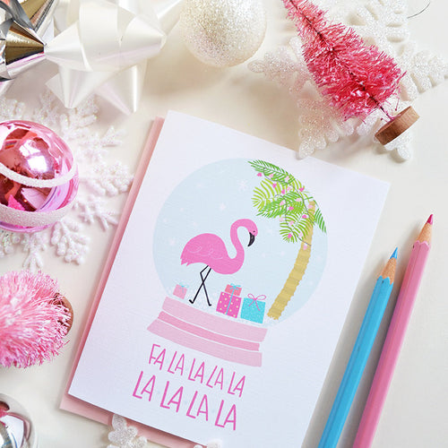 Flamingo Snow Globe Card