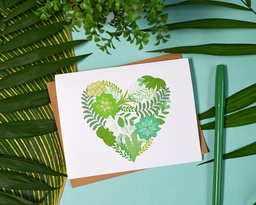 Succulent Heart set of four note cards