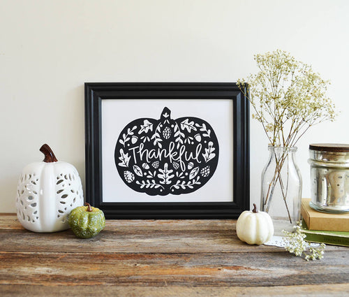 Thankful Black & White pumpkin, Give Thanks print