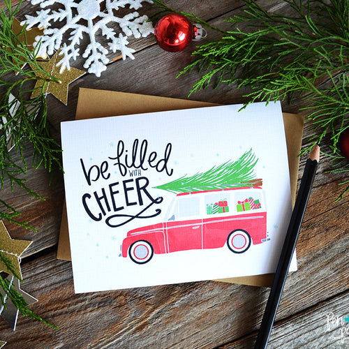 Be filled with cheer, Christmas Card - red car