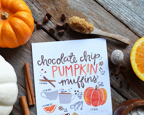 Pumpkin Muffin recipe fall art print