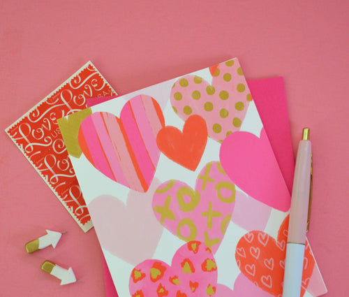Fun Hearts, Set of four Valentine's Day, Galentine's Day greeting cards