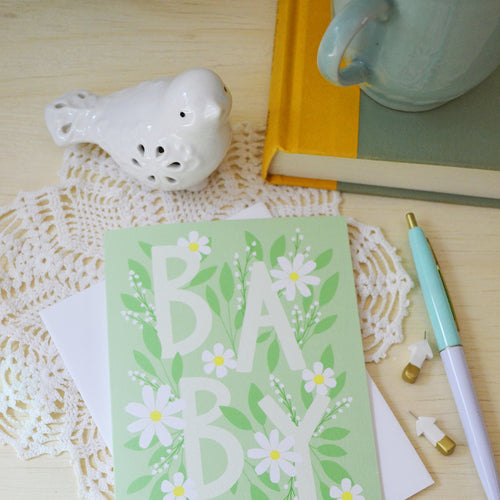 Baby, Green with Daisies, Baby Shower card