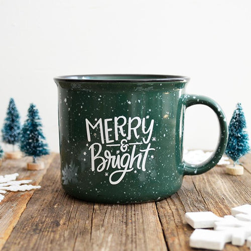 14 oz Merry & Bright Green Christmas Holiday Ceramic Campfire Mug