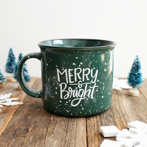 Merry & Bright Green Christmas Holiday Ceramic Campfire Mug