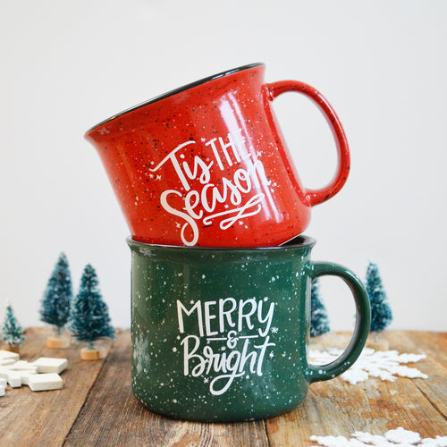 15 oz Merry & Bright Green Christmas Holiday Ceramic Campfire Mug
