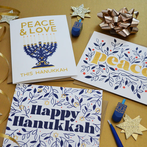 Peace & Love this Hanukkah set of four Hanukkah cards