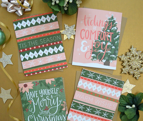 Merry Little Christmas set of four Christmas cards
