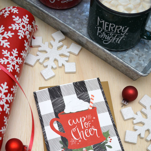 Cup of Cheer Holiday Christmas Card - Plaid