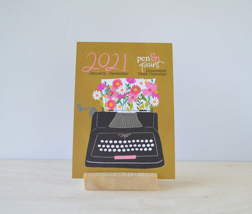 WOODEN BLOCK +  2021 Pen & Paint Illustrated Calendar