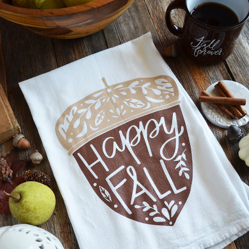 Happy Fall Acorn Kitchen Towel