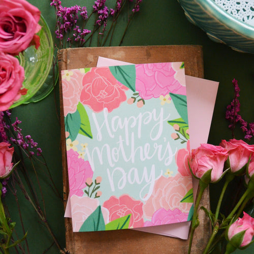 Happy Mother's Day pink peonies card