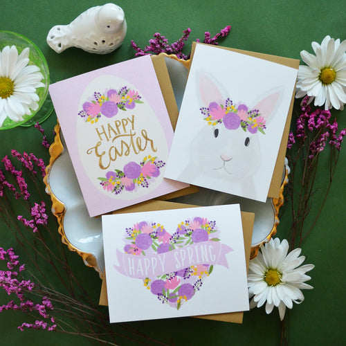 Happy Spring, Happy Easter, Spring Bunny set of four spring cards