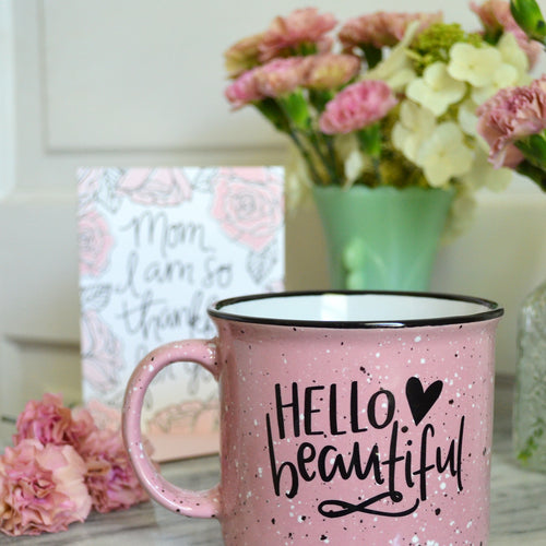 15 oz Hello Beautiful Blush Pink Ceramic Campfire Mug
