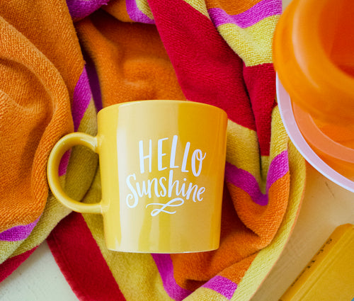14 oz Hello Sunshine Yellow Ceramic Mug