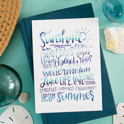 Hello Summer Favorites blues art print