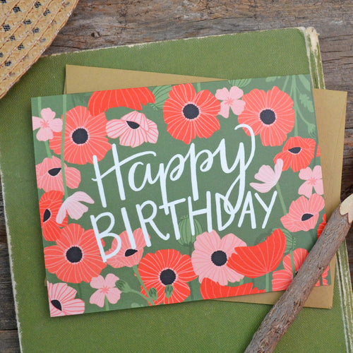 Happy Birthday poppies birthday card