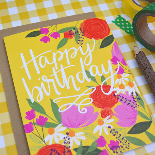 Happy Birthday bright yellow floral birthday card