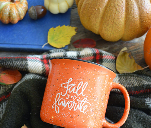 BACK IN STOCK! Fall is my Favorite Orange Campfire Mug 15 oz