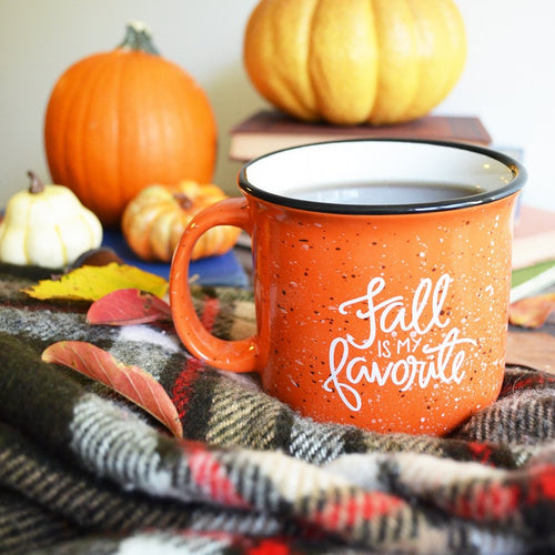 IMPERFECT Fall is my Favorite Orange Campfire Mug 15 oz