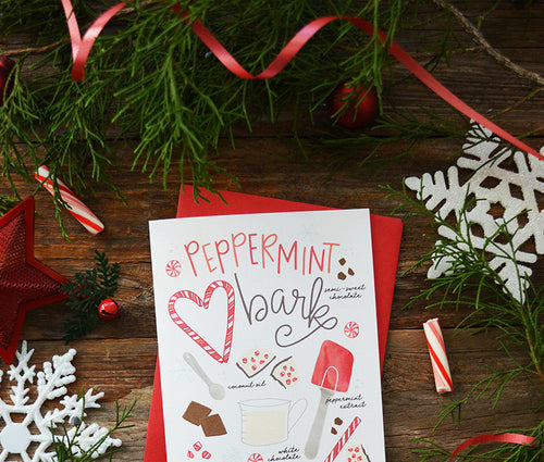 Peppermint Bark Recipe Holiday Christmas Greeting Card