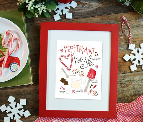 Peppermint Bark recipe illustration Art Print